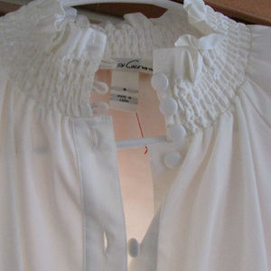 Kenneth cole smocked high collar blouse size 6
